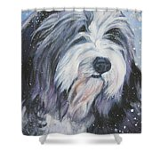 Bearded Collie In Snow Shower Curtain