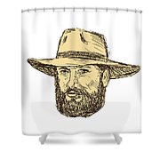 Bearded Cowboy Head Drawing Shower Curtain