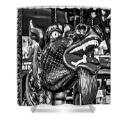 Bearded Dragon Ride Black And White Shower Curtain