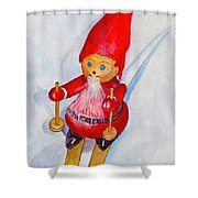 Bearded Elf On Skis Shower Curtain