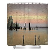 Beau Rivage Lighthouse And Marina Shower Curtain