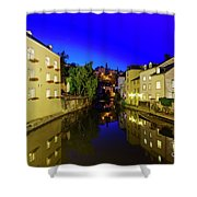 Beautiful Alzette River Side Scene On Road Rue Munster Shower Curtain