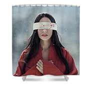 Beautiful Asian Woman With Red Sensual Lips Standing In The Snow Shower Curtain