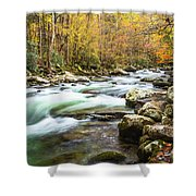 Beautiful Autumn Colors Little Pigeon River Smoky Mountains Shower Curtain