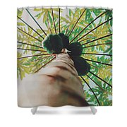 Beautiful Branches And Leaves Of Papaya Tree Along With The Tasty Exotic Fruit Fill The Frame Shower Curtain