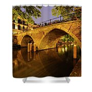 Beautiful Bridge Weesbrug Over The Old Canal In Utrecht At Dusk 220 Shower Curtain