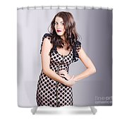 Beautiful Brunette Girl Wearing Retro Zipper Dress Shower Curtain