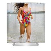Beautiful Brunette Model On The Beach Shower Curtain