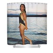 Beautiful Brunette On The Beach Shower Curtain