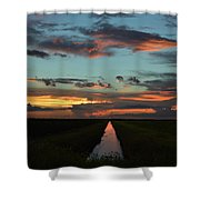 Beautiful Canal Sunset In Florida Shower Curtain