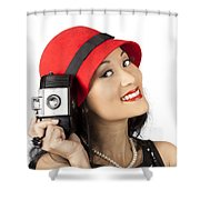 Beautiful Chinese Woman Holding Old Film Camera Shower Curtain
