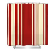 Modern Christmas Stripe Pattern Series Red Currant, Cream, Blush Shower Curtain