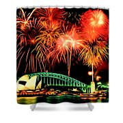 Beautiful Colorful Holiday Fireworks 2 Shower Curtain