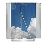 Beautiful Day At The Marina - Mast And Clouds - Color Shower Curtain
