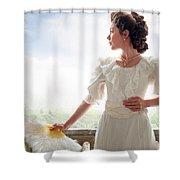 Beautiful Edwardian Woman In The Garden Shower Curtain