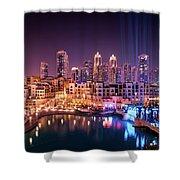Beautiful Famous Downtown Area In Dubai At Night, Dubai, United Arab Emirates Shower Curtain