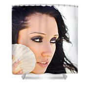 Beautiful Girl Holding A Cockle Shell Shower Curtain
