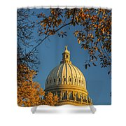 Beautiful Idaho State Capitol In Autumn Morning Shower Curtain