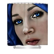 Beautiful In Blue Version 2 Shower Curtain