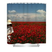 Beautiful Lady And Red Poppies Shower Curtain