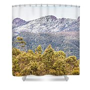 Beautiful Landscape With Partly Snowed Mountain  Shower Curtain