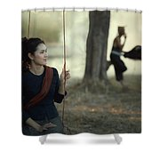 Beautiful Lao Girl In A Native Dress, Sitting Leisurely With A B Shower Curtain