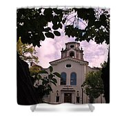 Beautiful Mason Hall - Pomona College - Trees Framing Shower Curtain