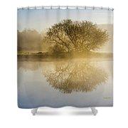 Beautiful Misty River Sunrise Shower Curtain