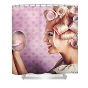 Beautiful Model With Fresh Makeup And Hairstyle Shower Curtain by Jorgo Photography - Wall Art Gallery