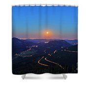 Beautiful Moon Rise At Rocky Mountain National Park Shower Curtain