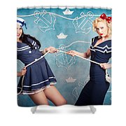 Beautiful Navy Pinup Girls On Marine Background Shower Curtain