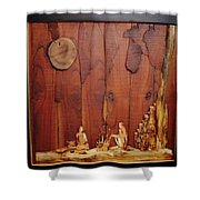 Beautiful Night Artwork With Wooden Waste Shower Curtain