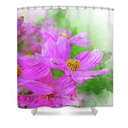 Beautiful Pink Flower Blooming For Background. Shower Curtain
