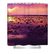Beautiful Purple Sunset During Tide Shows Up Rocky Beach Shower Curtain