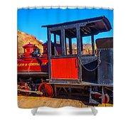 Beautiful Red Calico Train Shower Curtain