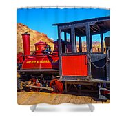Beautiful Red Calico Train Shower Curtain