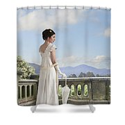 Beautiful Regency Woman Admiring The View From The Terrace Shower Curtain