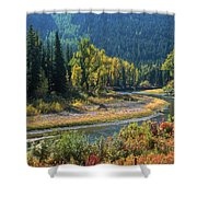 Beautiful River Bottom In Vivid Autumn Colors Shower Curtain