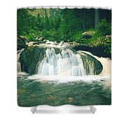 Beautiful River Flowing In Mountain Forest Shower Curtain