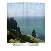 Beautiful Rocky Towering Sea Cliffs Along The Cliff's Of Moher Shower Curtain