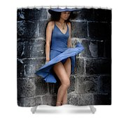 Beautiful Romantic Woman Standing Near A Stone Wall Shower Curtain