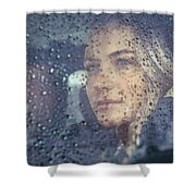 Beautiful Sad Woman In The Car Shower Curtain