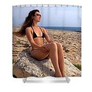 Beautiful Sexy Woman In Bikini Relaxing On A Rocky Seashore Shower Curtain