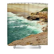 Beautiful Shore Of Nazare, Portugal Shower Curtain