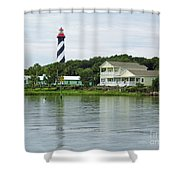 Beautiful St Augustine Lighthouse Waterfront Shower Curtain