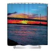 Beautiful Sunset Under The Bridge Shower Curtain