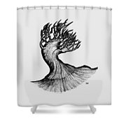 Beautiful Tree In Color Nature Original Black And White Pen Art By Rune Larsen Shower Curtain
