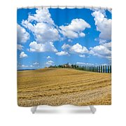 Beautiful Tuscany Landscape With Traditional Farm House And Dram Shower Curtain
