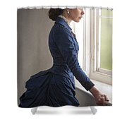 Beautiful Victorian Woman At The Window In A Blue Bussle Dress Shower Curtain