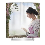 Beautiful Victorian Woman In Pink Dress Standing Under A Wisteri Shower Curtain